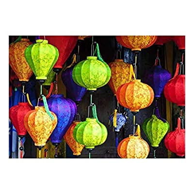 Beautiful Portrait, Colorful Lanterns with Vietnamese Designs on Them Wall Mural, it is good