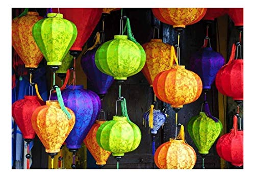 wall26 - Colorful Lanterns with Vietnamese Designs on Them - Wall Mural, Removable Sticker, Home Decor - 100x144 inches