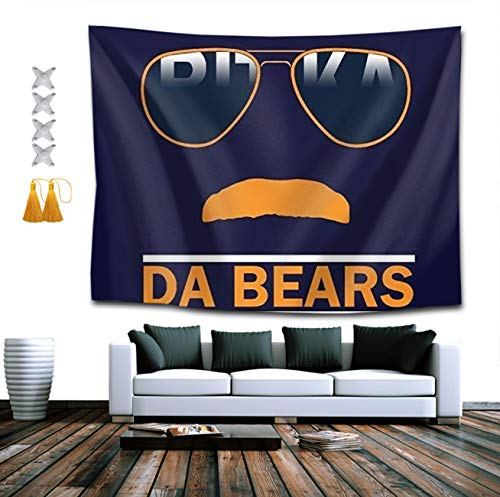BOYOKO ME Da Bears Chicago Windy City Mustache Glasses Wall Hanging Tapestry, Psychedelic Wall Art, Room Decor Beach Throw, Indian Wall Tapestries Art 40 x 60 Inches for Dorm Room ()