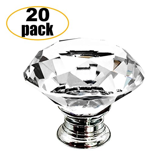 Little World 30MM Crystal Clear Glass Cabinet Dresser Knob Diamond Shape Easy Install for Drawer Door Chrome Glass Cabinet Knobs Pull Handles and Home Office DIY-20 Pcs