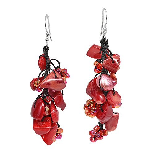 Cute Little Mix of Reconstructed Red Coral & Cultured Freshwater Pearl with Fashion Beads .925 Sterling Silver Dangle Earrings