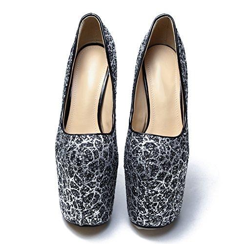 fereshte Womens Closed Toe Paillette Platform Super Block High Heel Pump Wedding Shoes Black Ip7emMz3