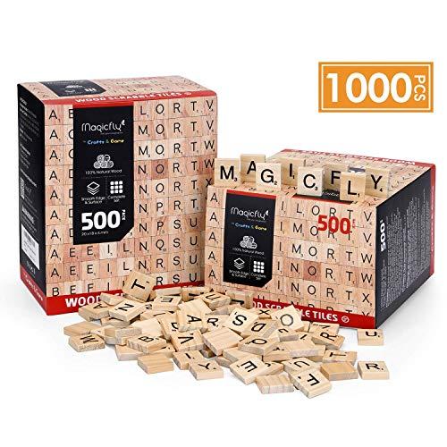 1000 Pcs Scrabble Ttiles, Magicfly Wooden Letter Tiles, A-Z Capital Letters for Crafts, Spelling,Scrabble Crossword Game