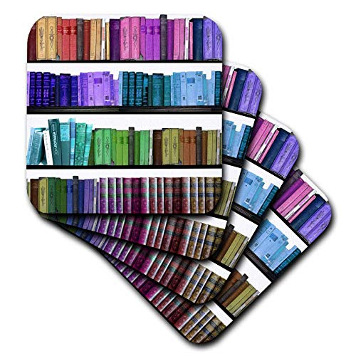 (3dRose CST_112957_3 Colorful Bookshelf Books-Rainbow Bookshelves-Reading Geek Library Nerd-Librarian Author-Ceramic Tile Coasters, Set of 4)