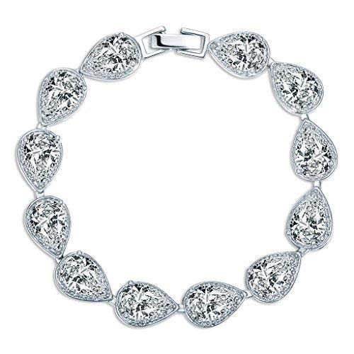 (MASOP Women's Silver-tone Clear CZ Cubic Zirconia Pear Shape Teardrop Bracelet Bangle Chain)
