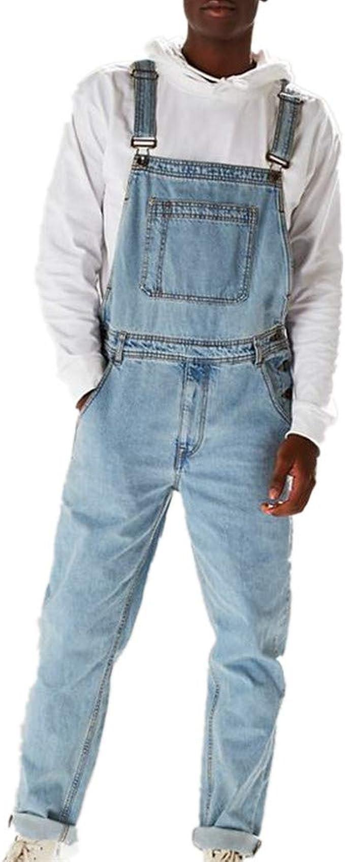 Salopette da Uomo con Jeans Tuta di Jeans Strappati Moda