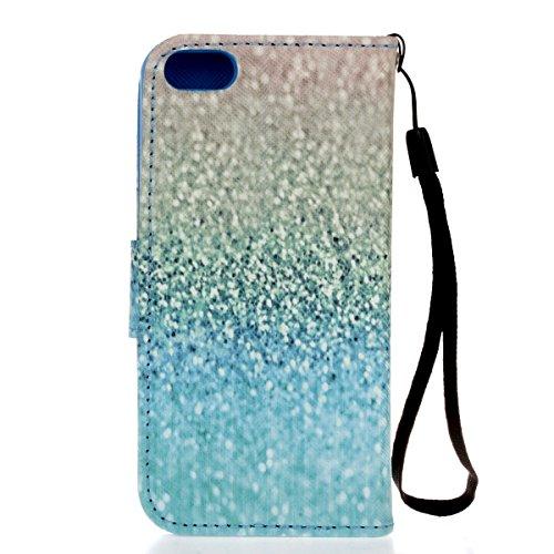 Ikasus Funda con solapa para Apple iPhone SE 2016, 5S y 5, con dibujo pintado, piel sintética de poliuretano, de alta calidad, con función atril y tarjetero Blue Gravel