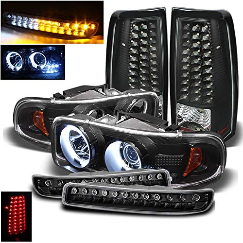 Xtune for 1999-2003 GMC Sierra Black Halo Projector Headlights + Bumper w/LED + LED Tail Lights 2000 2001 2002