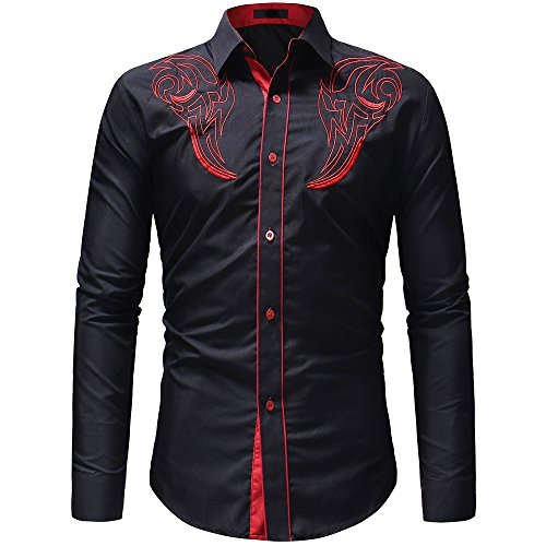 SFE❤️ rabatte bis zu 60%❤️ Men's Autumn Winter Casual Embroidery Pullover Long Sleeved T-Shirt Top Blouse Leisure Black
