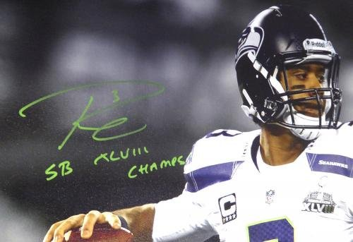 Russell Wilson Autographed Signed 24x30 Canvas Seahawks Sb Champs /48 Rw 104117 Autographed NFL Art
