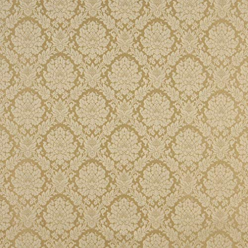 Antique Gold Yellow Floral Heirloom Vintage Damask Jacquard Upholstery Fabric by the ()