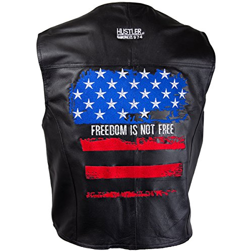 Officially Licensed Hustler Mens Freedom is Not Free Embroidered Distressed USA - X-Large