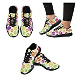 InterestPrint Colorful Dogs Paws Print on Women's Running Shoes Casual Lightweight Athletic Sneakers US Size 6-15