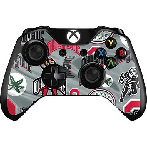 Skinit Ohio State Pattern Xbox One Controller Skin - Officially Licensed Ohio State University Gaming Decal - Ultra Thin, Lightweight Vinyl Decal Protection