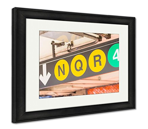 Ashley Framed Prints New York Subway Signs N Q R 4, Wall Art Home Decoration, Color, 30x35 (frame size), Black Frame, AG5610697 (Sign Nyc Subway/4)
