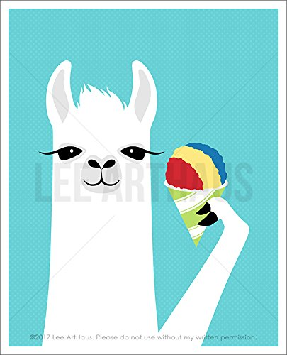 54J - White Llama Eating Rainbow Snow Cone Wall Art UNFRAMED Wall Art Print by Lee (Snow Cone Stripe)