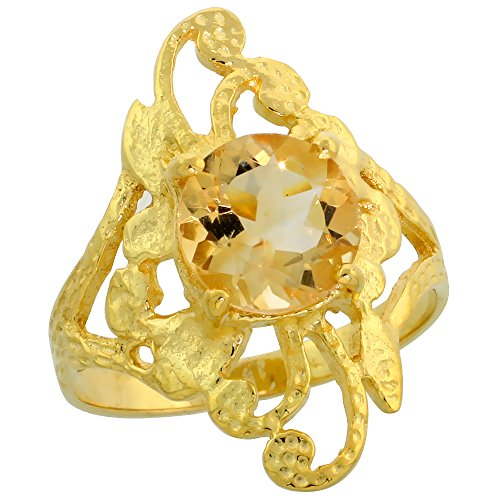 10k Gold Diamond-shaped Floral Stone Ring, w/ 1.75 Carats (8mm) Round Brilliant Cut Citrine Stone, 7/8 in. (22mm) wide, size ()