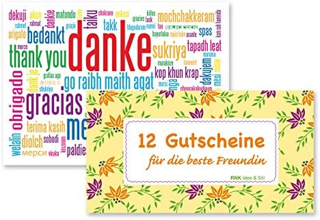 Gutscheinheft 12 Gutscheine für die beste Freundin inkl. Klappkarte Danke gratis, Geschenkidee Gutscheine Geschenkkarte