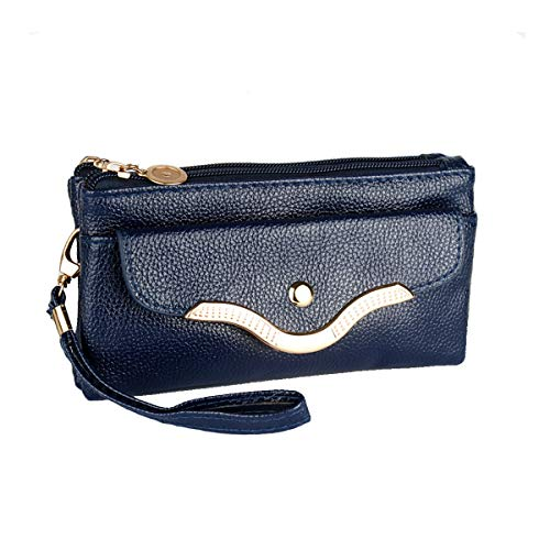 Women Phone Bag purse, Waterproof PU Leather Small Cellphone Pouch Clutch Crossbody Shoulder Bags Wristlet Handbags with Wrist Shoulder Strap Blue