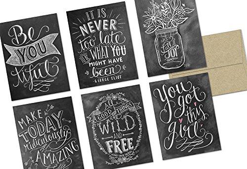 72 Note Cards - Chalkboard Inspiration - 6 Designs - Kraft Envelopes Included