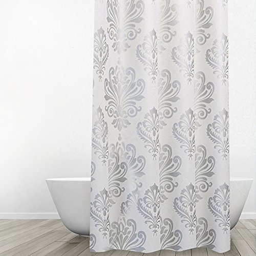 Eforgift 36 By 72 Inch Retro European Anti Mildew PEVA Shower Curtain Liner PVC Free Waterproof Bath With Rings WashableGrey
