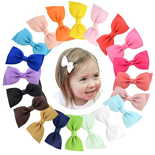 3 Inch Baby Girls Tiny Hair Bows Clips Fully Lined Snap Babies Toddlers Hair Pins Hair Accessories ()