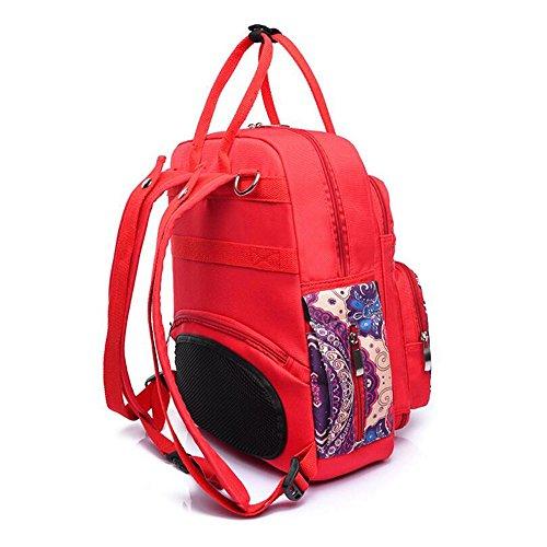 sac noir toile Bleu Sac capacité de mère dos de de mode à main grande de de de de de bleu multifonctionnel rouge sac WENMW à broderie maman mode nouveau wBqpCIw
