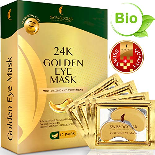Under Eye Mask Gold Eye Mask Anti-Aging Hyaluronic Acid 24k Gold Eye Patches Under Eye Pads for Moisturizing & Reducing Dark Circles Puffiness Wrinkles