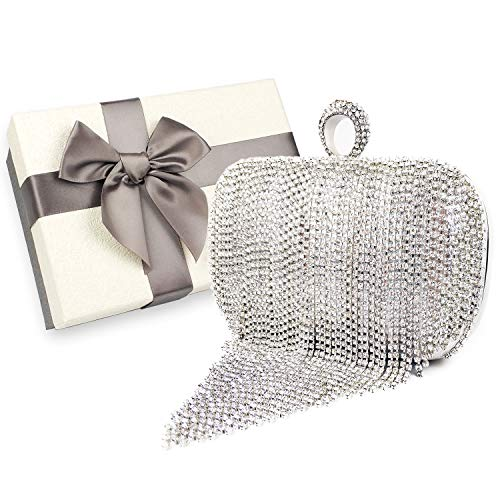 Womens Evening bag, Rhinestone Tassel Sparkling Handbag Wedding Bag, Crystal Ladies Party Clutch Purse, with Gift Box (Silver- Rhinestone Tassel)
