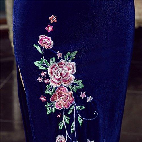 Shanghai Story Peacock Floral Embroidery Velvet Long Cheongsam Qipao Dress 8 Bl by Shanghai Story (Image #6)
