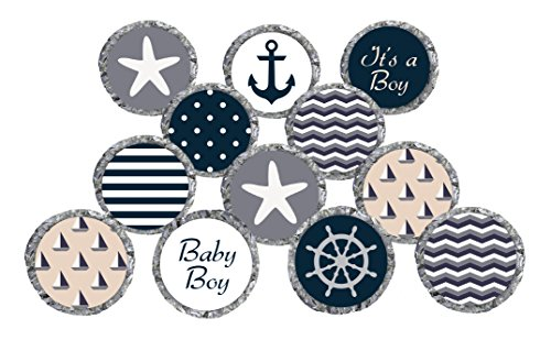 Nautical Baby Boy Shower Stickers for Hershey's Kisses Favors, Decorations, Thank You Cards, and Invitations (Set of 324 - CANDY NOT INCLUDED)