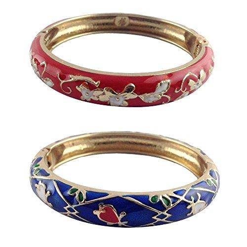 - UJOY Designer Womens Elegant Bangle Cloisonne Bracelets Gold Flower Enameled Jewelry for Birthday Gift 55A86 red