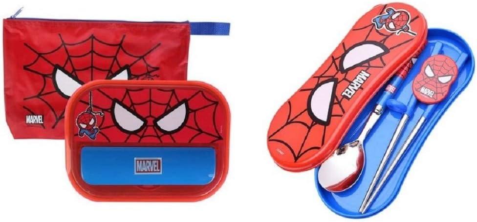 Marvel Spider Man Spoon Training Chopsticks Case Set Kids Child Lunch Box Boys