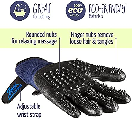 Pet Grooming Gloves  Left  Right  Enhanced Five Finger Design  for Cats Dogs  Horses  Long  Short
