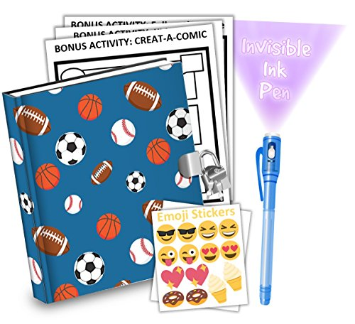 Sports Kids Diary With Lock Includes 6.5 Inch Diary, Invisible Ink Pen, Stickers, & Bonus Activity Pages - Merchants Diary