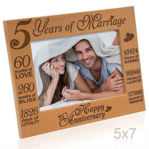 Kate Posh - 5 Years of Marriage Photo Frame - Happy 5th Anniversary Gift Wood - Engraved Natural Solid Wood Picture Frame (5x7-Horizontal) (Fifth Anniversary Gift Traditional)