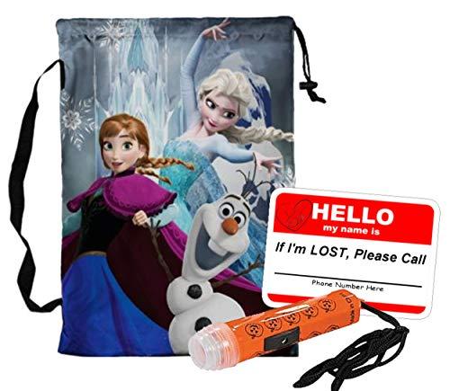 Disney Frozen Pillowcase Drawstring Halloween Trick or Treat Loot Bag!! Plus Bonus Safety First Sticker & Mini Halloween Flashlight Necklace! -