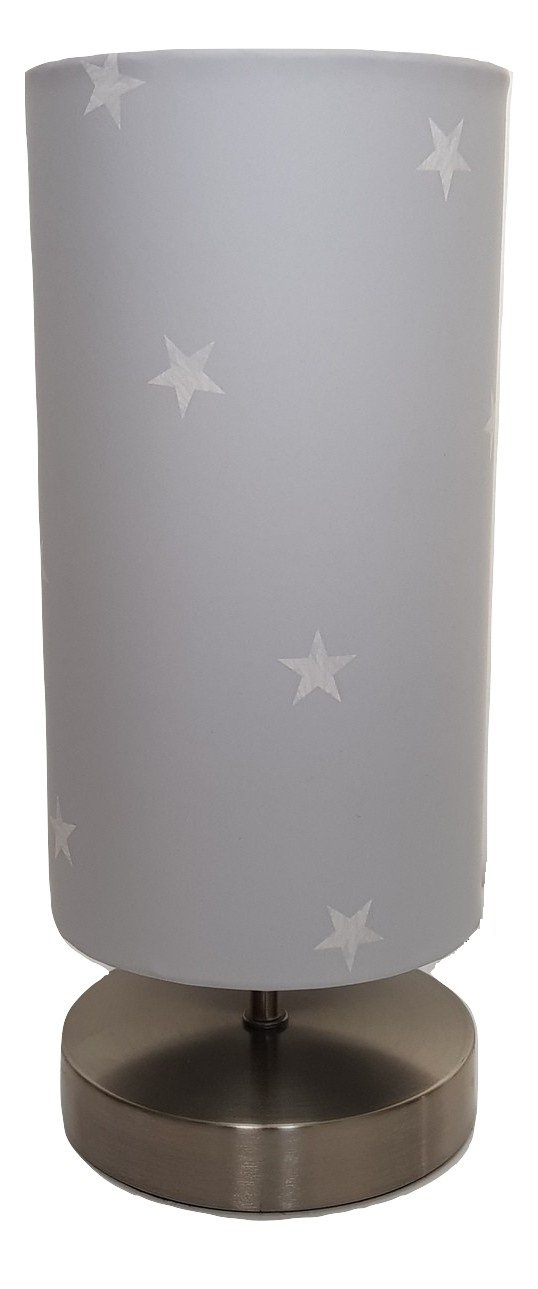 Grey With White Stars Lamp Light lampshade Night Light Boys Girls Childrens Bedroom Bedside Table Nursery Lamps Room Accessories Gifts