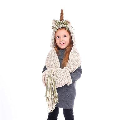 aa625e83cd66f TiiMi Party Crochet Cartoon Unicorn Winter Hat with Scarf Pocket Hooded  Knitting Beanie Cosplay Photography (