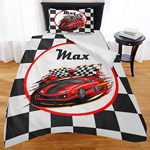 - ShowRoom16 Custom Name Duvet Cover Set Twin Size F1 Car Race Checkered Flag Design Comforter Cover Set Personalized Bedding Set for Kids Teenager Boys