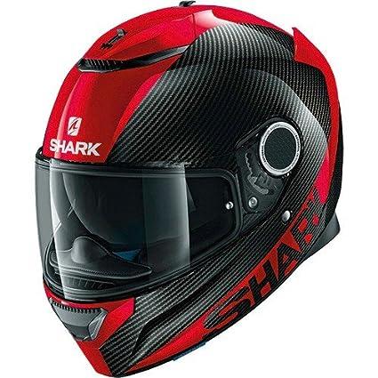 Shark. Casco de moto Spartan, de fibra de carbón DRR, color Negro/Rojo, talla S