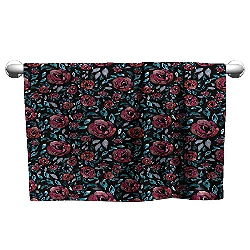 (Nano Towels Roses on a Black Background Hand-Painted Seamless Pattern Wallpaper Fabric Watercolor Scrub Towel Cool Towel 10 x 40)