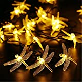 KingTo Dragonfly Solar String Lights,20 LED Garden Lights for Outdoor, Home, Lawn, Patio, Party and Holiday Decorations(Dragonfly,Warm White)