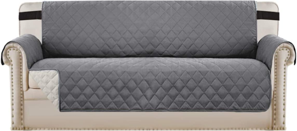 """Reversible Sofa Slipcover Quilted Furniture Protector with 2"""" Elastic Strap Water Resistant Sofa Covers Seat Width Up to 78"""" Slipcover Protect from Dogs (Oversized Sofa, Grey/Beige)"""