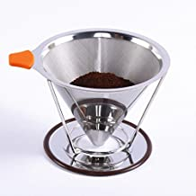 Vinmax Reusable Pour Over Coffee Filter, Cone Coffee Dripper Paperless, Double Mesh Pour Over Coffee Maker with Separate Standard 1-to-4 Set Cup Stainless Steel,Non-Slip Handle - Dishwasher Safe