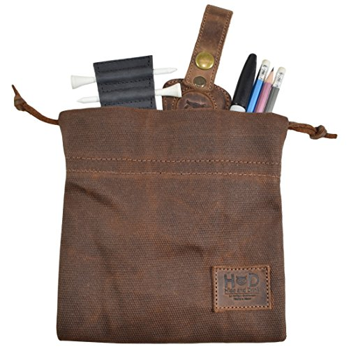 Hide & Drink Waxed Canvas Golf Valuables Field/Travel/Tech/Board Game Dice Pouch Handmade Honey Bourbon