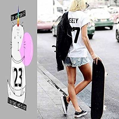 Classic Concave Skateboard Happy Smiling Pretty cat with Horn, Gray Background, Girlish Childish Longboard Maple Deck Extreme Sports and Outdoors Double Kick Trick for Beginners and Professionals : Sports & Outdoors