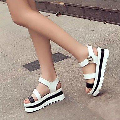 RUGAI-UE Las mujeres sandalias Tacones zapatos casual PU,Blanca,US5 / UE35 / UK3 / CN34 White