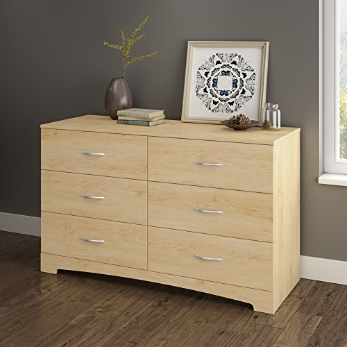 (South Shore Step One 6-Drawer Double Dresser, Maple with Matte Nickel Handles)
