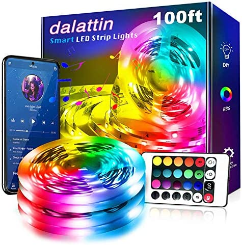 Led Lights for Bedroom Smart 100ft,2 Rolls 50ft,Dalattin Smart Led Strip Lights with App Control Remote, 5050 RGB Led Light Strips, Music Sync Color Changing Lights for Room Decoration Party